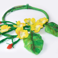 Spring necklace, unikue Spring Bouquet Necklace flower felt bib eco friendly natural floral for her jewelry Wool colorful yellow green red