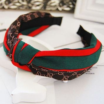 ONETOW GUCCI red and green striped letters wild Western knot fabric hair card wide hair bands Dark coffee
