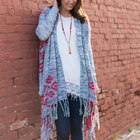 Have It All Cardigan, Red/Gray