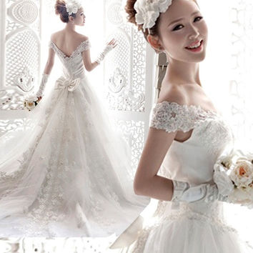 Princess wedding Angel V neckline Princess Bride lace wedding dresses 2015 new = 1929454788