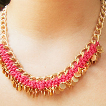 Gold Chunky Statement Necklace in Rose Pink