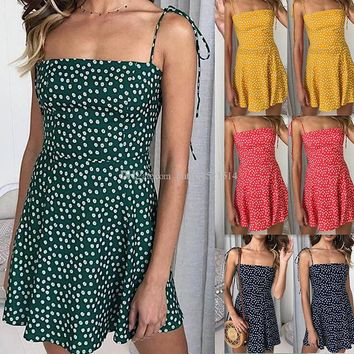 Polka Dot Print Short Mini Dress Women 2019 Summer Sleeveless Spaghetti Strap Dress Bodycon Boho Beach Sundress