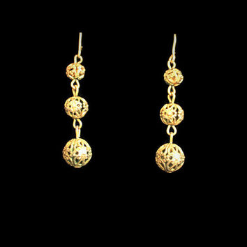 Vintage Brass Filigree Bead Dangle Drop Earrings