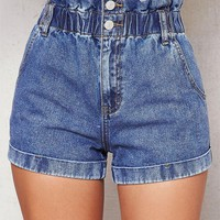 LMFON PacSun Cinched Blue Denim Mom Shorts