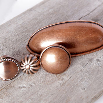 Copper Kitchen Knobs, Cabinet or Drawer Knobs, Copper Kettle Knobs