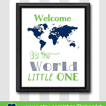 travel theme baby nursery decor world map welcome to the world little one new baby decor gift for new parents travel nursery map print