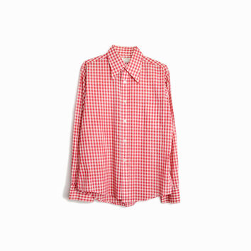 70s Vintage Red Gingham Shirt / Men's Gingham Plaid Shirt - men's medium / 15-15.5