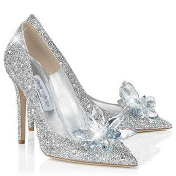 Wedding shoes super high heels Cinderella crystal shoes bride sh 9b60ff7efa