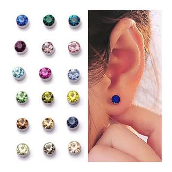9 colors magnet men Clips Earrings for women 4MM 5MM Crystal Ear Cuff earrings no pierced fake piercing oringe