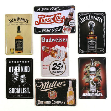 Absolute Mary Jack Daniels Millers Budweiser Peisi Cola Socialist Tin Sign Wall Metal Poster Plate for Café Restaurant Diners Décor 20x30cm