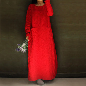 Cotton Linen Jacquard Women Maxi Dress Robe 2016 Fall Winter New Long Sleeve Round Neck Loose Plus Size Vintage Gown Long Dress