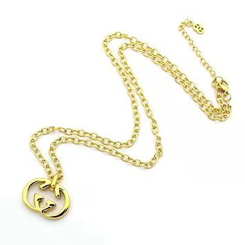 GUCCI Classic Fashion Women Men Double G Pendant Necklace Jewelry Accessories Golden