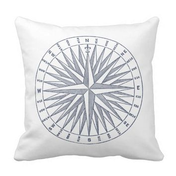 Vintage Compass Navy Blue Throw Pillow