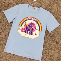 """Moschino"" Women Fashion Casual Cartoon Pony Rainbow Print Short Sleeve T-shirt Tops"
