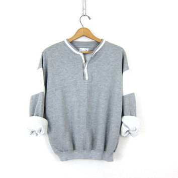 Baggy Gray Sweatshirt Sporty Athletic Sports sweatshirt slouchy RINGER sweater pullover Button Collar Henley COED unisex sweater Medium