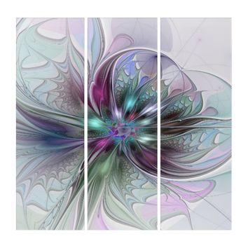 Colorful Fantasy, abstract and modern Fractal Art Triptych