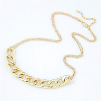Charm two layer Chains Metal Gold Plated Circles Collar Pendant Necklace for Women Luxury Clavicle Necklaces