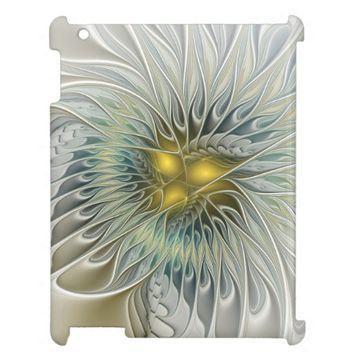 Golden Silver Flower Fantasy abstract Fractal Art Cover For The iPad 2 3 4