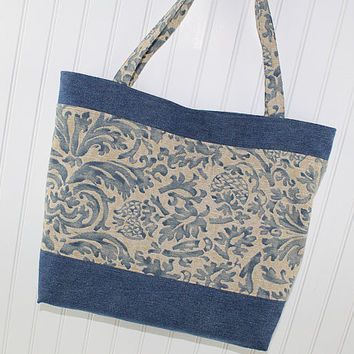 Denim and Tan Large Tote Bag, Farmers Market Bag, Fold Up Grocery Bag, Denim Tote Bag, MK135