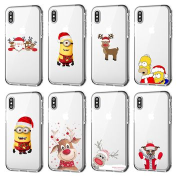 Merry Christmas cute Cartoon elk The Simpsons soft tpu phone case for iphone 5 5s se 8 7 6 6s X XS XR Max Plus Transparent Cover