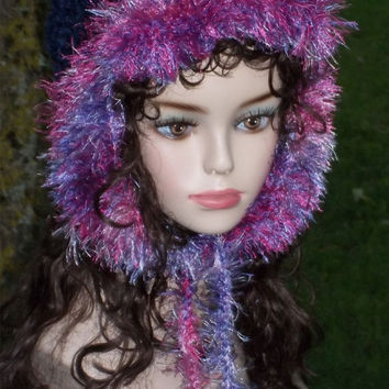 Hand Knit Hat - Ear Flap Hat With Fur Trim