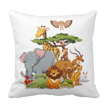 Zoo Animals Throw Pillow