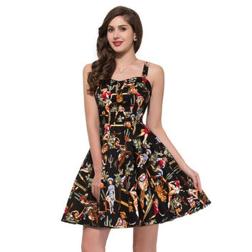 Belle Poque Rockabilly Womens Summer Style Dresses 2017 robe Pin Up Retro Vintage 50s Audrey Hepburn Swing Print Casual Clothing