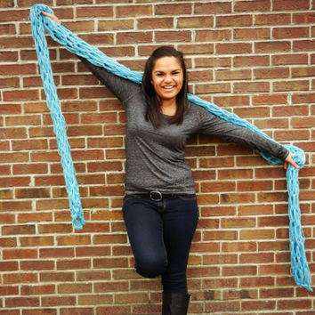 Extra long scarf- Blue Scarf- Robins Egg Blue knit scarf, oversized, 10 foot chunky scarf, open weave, loopy scarf