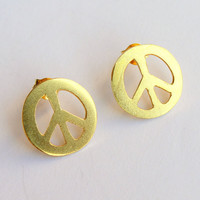 SALE....  Last 2 Pairs.... Peace Sign Stud Earrings Gold Plated Sterling Silver