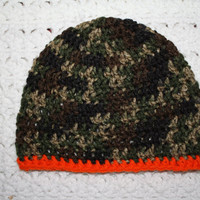 Flash Sale CYBER MONDAY Camo with Orange Trim boys Beanie 6-12 Months Baby Shower Gift, Infant, Perfect Photo Prop