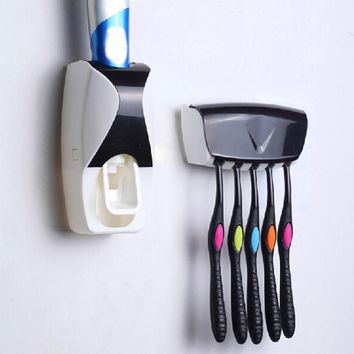 Automatic Plastic  Lazy Toothpaste Dispenser 5 Toothbrush Holder