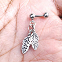 316L Surgical Steel 16g, 16 gauge feathers, Helix, cartilage, tragus earring