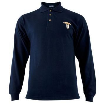 Dentistry Caduceus Symbol Navy Adult Polo T-Shirt