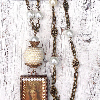 Religious Assemblage Necklace | Christian Necklace | Religious Jewelry | Pearl NeCKlace | Antique Bronze Swarovski Crystal Religious Pendant
