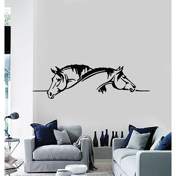Vinyl Wall Decal Horses Head Farm Pets Art Animals Decor Stickers Mural (g763)