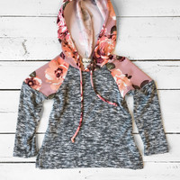 Girls Floral Hooded Pullover