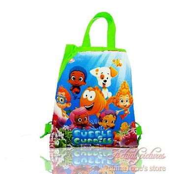 1Pcs Bubble Guppies Kids Children Cartoon Drawstring Backpacks School Bags,Party Birthday Gift Bags,34*27cm,Free Shipping
