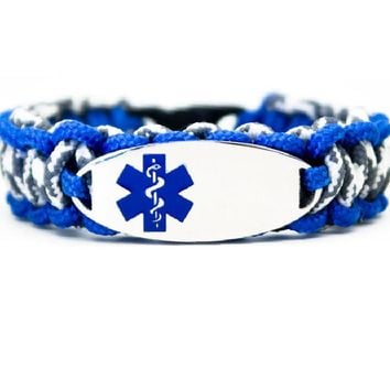 275 Paracord Bracelet with Engraved Oval Stainless Steel Medical Alert ID Tag - Blue
