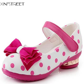 Xinfstreet Fashion Girls Shoes Princess Bow Cute Little Children Shoes Dot Leather Kids Heels Shoes For Girls Size 27-37