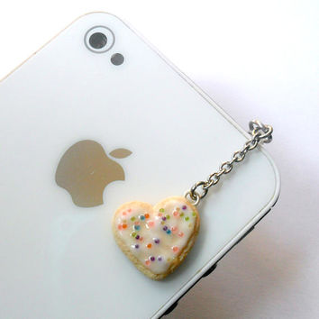 Heart Frosted Sugar Cookie Dust Plug, For Phone, iPhone or iPod, Cute :D