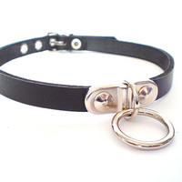 Black Leather Fetish BDSM Collar with plated bondage ring- for slave or sub, choker
