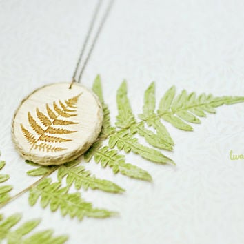 Wood Laser cut Pendant with engraved fern and by TheTwentyFingers