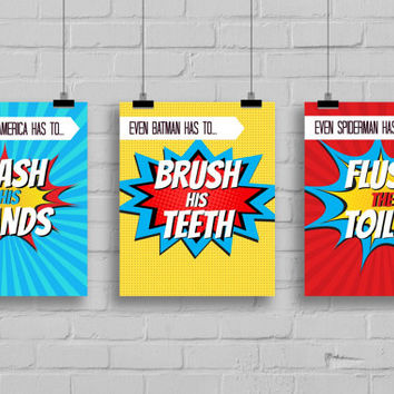 Super Hero Bathroom Prints, Superhero Pop Art, Instant Download,PRINTABLE 5x7 Prints, Kids Wall Art, Superhero Bathroom Wall Art