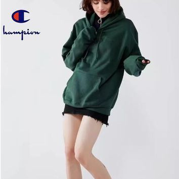 Champion Embroidered hoodie and hoodie for men and women Dark green