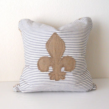 "Accent Pillow Cover Vintage French Ticking with Burlap Fleur-De-Lis 24""x24"""