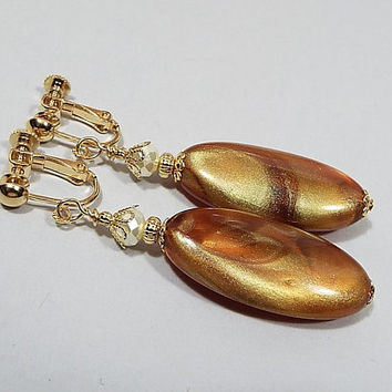 Caramel Earrings, Large Oval Drop with Vintage Pearly Lucite Beads, Brown Amber Gold Color Swirled Marbled, Clip on Earrings Lever Back Hook