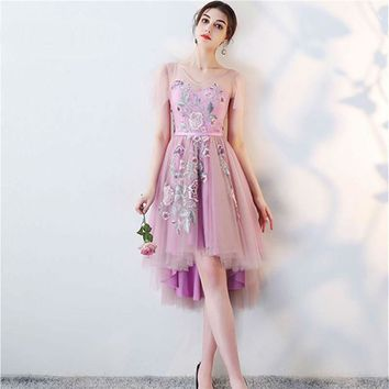 V-Neck Flower Embroidery Tulle Formal Dress High Low Elegant Lady