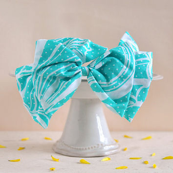 Summer Bow - big bow headband, blue green seashell pattern