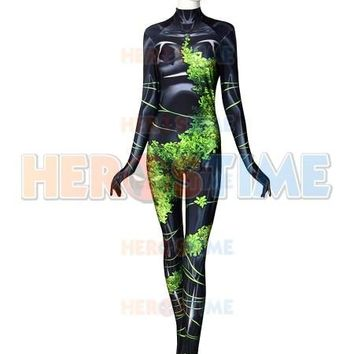 High Quality New 52 Poison Ivy Cosplay Costume 3D Printed Spandex Lycra Zentai Suit Pamela Lillian Isley Birds of Prey Bodysuit