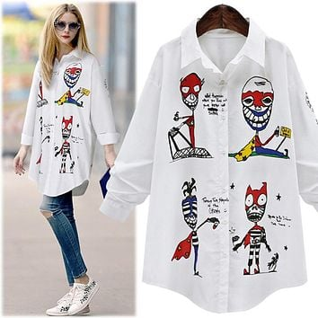 New 2017 Fashion Spring Summer Women Swallowtail Long Shirt Turn-down Collar Skull Casual Long Sleeve Temperament White Blouses